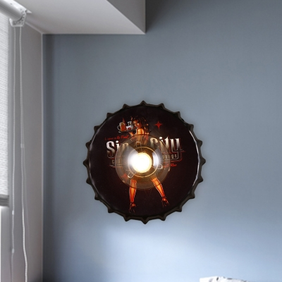 1 Bulb Wall Mount Lamp Industrial Bottle Cap Iron Sconce Lighting in Red/Black/Blue with Princess Pattern