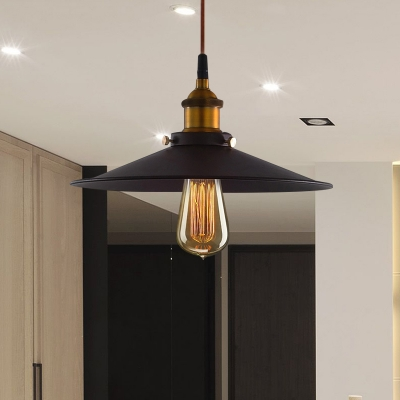 1 Bulb Wide Flare Ceiling Light Industrial Black Finish Metal Hanging Lamp Fixture with Pulley