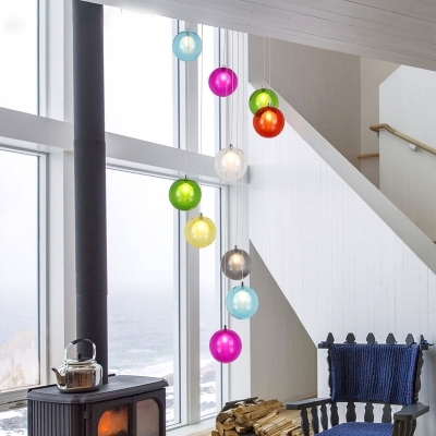 10 Lights Living Room Cluster Pendant Modern White/Pink LED Hanging Ceiling Light with Orb Frosted Glass Shade