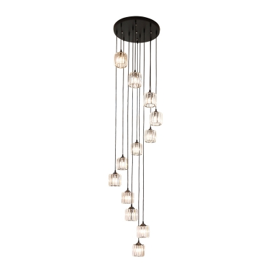 12 Bulbs Stair Cluster Pendant Modern Black Hanging Light Fixture with Drum Clear Crystal Shade