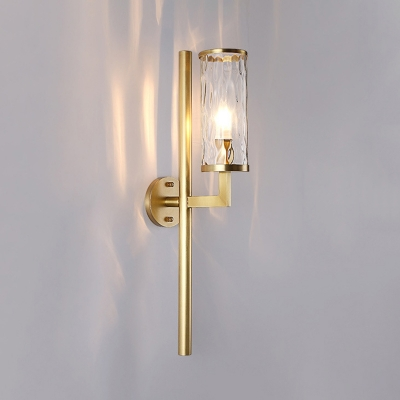 Brass Cylinder Sconce Lighting Modern 1 Head Clear Water Glass Wall-Mount Lamp with Pencil Arm