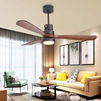 Cylinder Metallic 3-Blade Semi Flush Light Fixture Countryside Living Room LED Fan Lamp in Black, 52