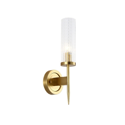 Gold Cylinder Sconce Light Fixture Contemporary 1 Light Clear Prismatic Glass Wall Mount Lamp