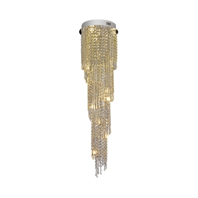 Modern 12 Heads Cluster Pendant Gold Cascading LED Hanging Ceiling Light with Clear Crystal Shade
