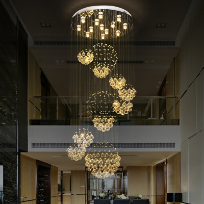 Sphere Cluster Pendant Light Minimalist Beveled Crystal 13 Heads Stair Hanging Lamp in Gold