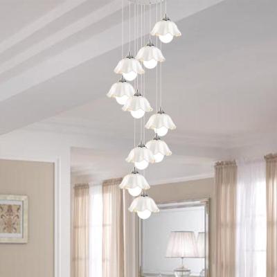 White Glass Scalloped Cluster Pendant Modernist 10 Bulbs Ceiling Suspension Lamp for Living Room