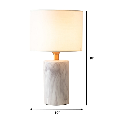 White Shaded Table Lamp Nordic 1 Head Fabric Reading Book Light with Marble Base