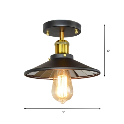 1 Bulb Flush Mount Light Vintage Bedroom Semi Flush Ceiling Lamp with Flared Iron Shade in Black