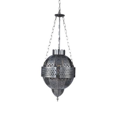 1 Bulb Metal Ceiling Suspension Lamp Decorative Grey Hollow Restaurant Pendant Lighting