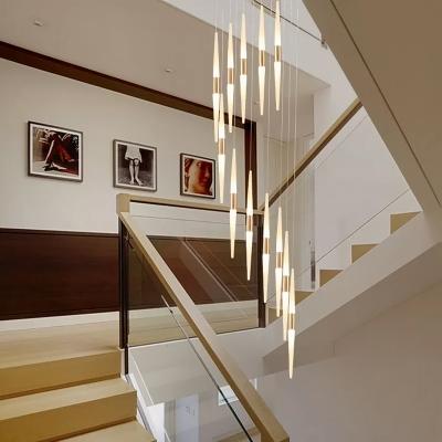 Bar Acrylic Hanging Light Fixture Modern 8/12/18 Lights White LED Cluster Pendant for Stair