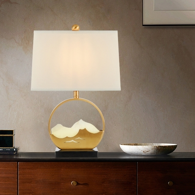 Fabric Cylinder Task Lamp Modern 1 Head Desk Light in Gold with Black Rectangle Marble Base