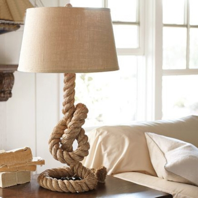 Industrial Knots Table Lamp 1 Light Rope Nightstand Lighting in Beige with Barrel Fabric Shade