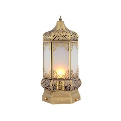 Metal Brass Night Table Lamp Lantern 1 Head Art Deco Nightstand Lighting for Bedroom