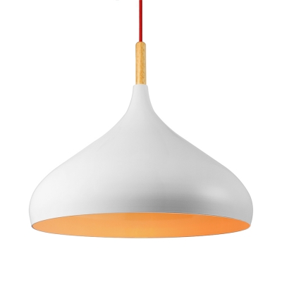 Nordic Dome Pendant Light in White Finish for Dining Room Kitchen Island Restaurant