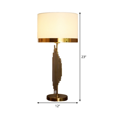 1 Head Study Task Lighting Modern Gold Small Desk Lamp with Cylindrical Fabric Shade