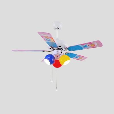 3 Bulbs Semi Flush Light Kids Bedroom 5 Blades Ceiling Fan Lamp with Ball Pink/Yellow/Red Glass Shade, 42