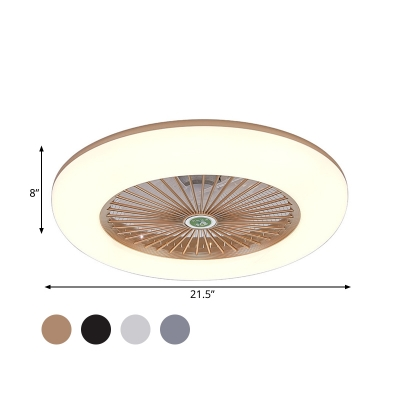 Acrylic Doughnut Semi Flush Mount Lamp Kids Living Room LED Ceiling Fan Light Fixture in Black/White/Grey with 5 Blades, 21.5
