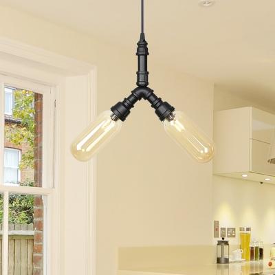 Capsule Bar Hanging Chandelier Vintage Amber Glass Shade 2/3/4 Bulbs Black Ceiling Pendant Lamp with Sputnik Pipe Design