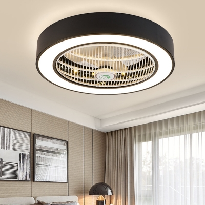 Drum Living Room Flush Light Fixture Modern Acrylic White/Black Finish LED Ceiling Fan Lamp with 6 Blades, 23.5