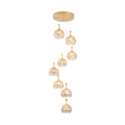 Gold Globe Multi Light Pendant Modernist 8 Bulbs K9 Crystal Down Lighting for Stair