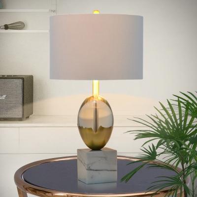 Grey Cylinder Desk Lamp Modern 1 Bulb, Square Marble Base Table Lamp