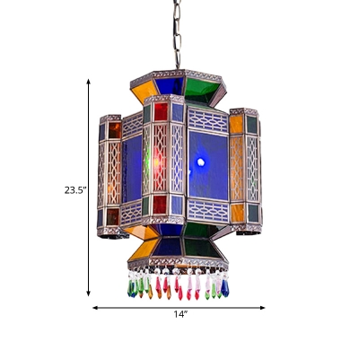 Lantern Restaurant Chandelier Lighting Traditional Metal 3 Heads Blue Drop Pendant
