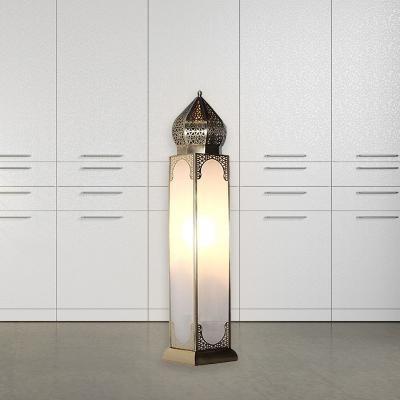 Metal Brass Night Table Lamp Rectangular 1 Head Arabian Nightstand Lighting for Bedroom