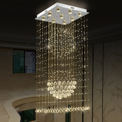 Minimalism 9 Bulbs Cluster Pendant Silver Sphere LED Ceiling Lamp with K9 Crystal Shade