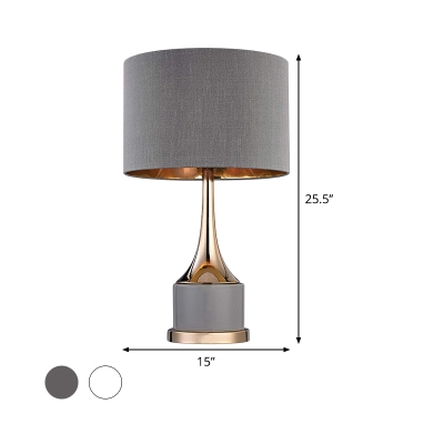 1 Head Cylinder Desk Light Modernism Fabric Reading Lamp in White/Grey for Living Room
