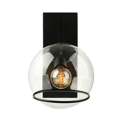 12'' H Clear Glass Matte Black Single Sconce Light LED Wall Sconce