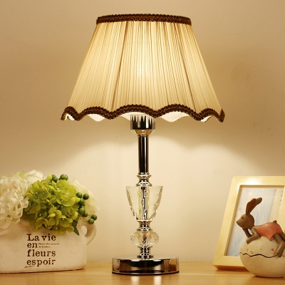 Beige Flare Study Lamp Modern 1 Bulb Fabric Reading Book Light with Braided Trim