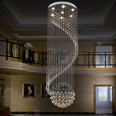 Clear Crystal Swirling Cluster Pendant Modern 7 Lights LED Drop Lamp in Silver for Living Room