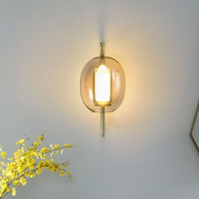 Clear Glass Oval Sconce Light Fixture Simple 1 Head Gold Wall Mount Lamp with Rectangle Frame Arm