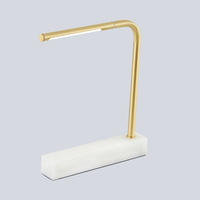 Curved Arm Table Light Modern Metal LED Brass Desk lamp with Rectangle White Marble Base