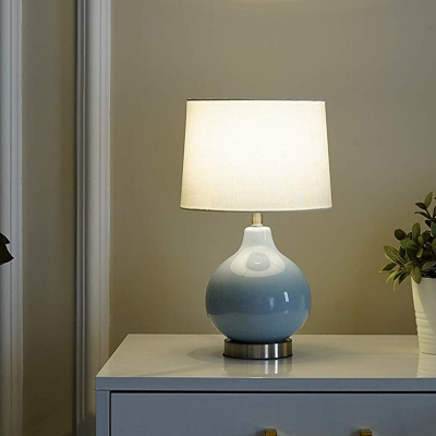 Drum Table Light Modern Fabric 1 Bulb White Desk Lamp with Onion Blue Ceramic Base
