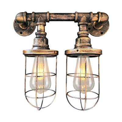 Metal Wire Cage Wall Light Fixture Industrial 2-Bulb Coffee Shop Sconce Lamp in Black/Brass