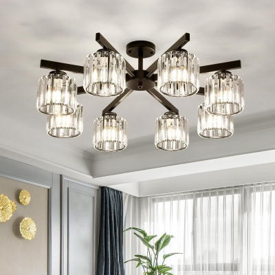 Minimalist 8-Head Flush Ceiling Light with Crystal Shade Black Cylinder Semi Flush Mount for Living Room