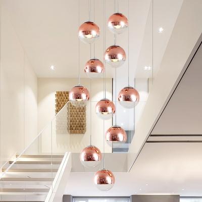 Rose Red Orb Multi Light Pendant Modern 10 Lights Metal Suspension Lamp for Stair