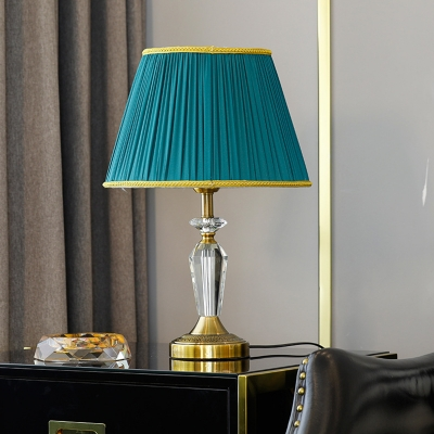 Tapered Drum Task Lighting Modern Fabric 1 Head Small Desk Lamp in Gold for Study