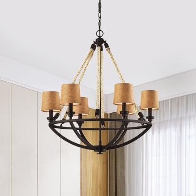 Tapered Shade Chandelier Light Foyer Dining Room 5/6 Lights Metal and Fabric Pendant Light