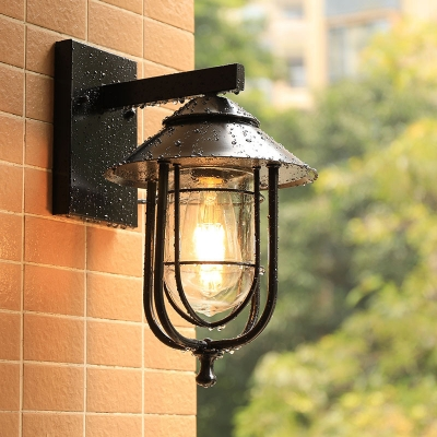1-Head Iron Wall Light Industrial Black Caged Outdoor Wall Mount Sconce with Clear Glass Shade