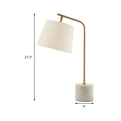 Barrel Fabric Desk Light Modernism 1 Bulb White Night Table Lamp with Metal Curved Arm