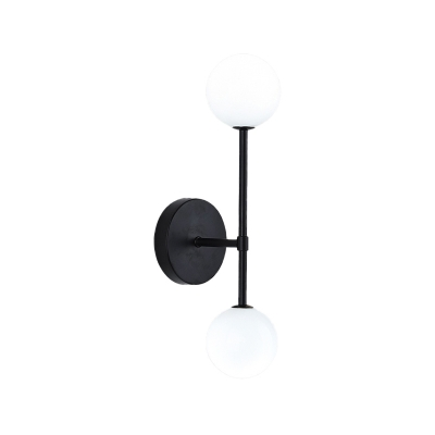 Black/Gold Globe Wall Sconce Light Modern 2 Lights Cream Glass Wall-Mount Lamp for Corner