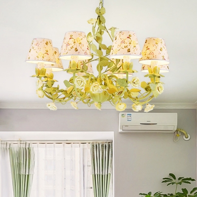 Countryside Conical Chandelier Light Fixture 3/6/8 Bulbs Metal Drop Pendant in Green with Fabric Shade