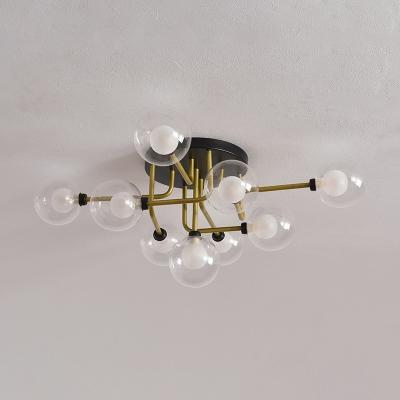 Gold Globe LED Semi Flushmount Contemporary 9-Light Clear Glass Flush Mount Ceiling Lamp