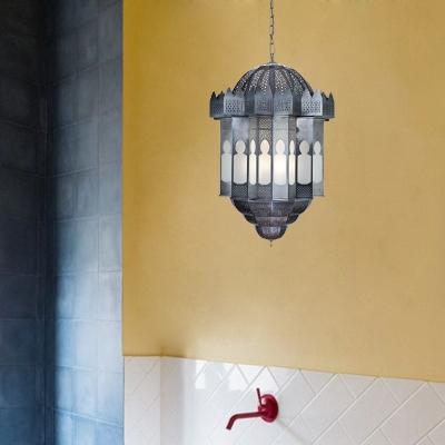 Lantern Metal Hanging Chandelier Antique 6 Lights Living Room Ceiling Light in Grey
