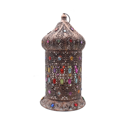 Metal Bronze Task Lamp Carved 1 Head Art Deco Desk Light with Colorful Crystal Bead