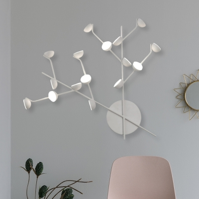 Metallic Branch Sconce Lighting Contemporary 16 Lights LED Wall Mounted Lamp in White