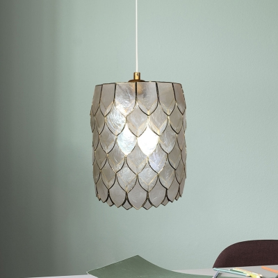 Modernist Drum Pendant Light Fixture Shell 1-Bulb Bedroom Hanging Lamp Kit in Silver with Scale Design