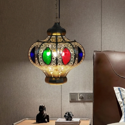 Oval Restaurant Chandelier Light Fixture Decorative Metal 4 Bulbs White/Red Hanging Lamp Kit
